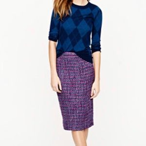 J. Crew Purple Boucle Jeweltone No 2 Pencil Skirt